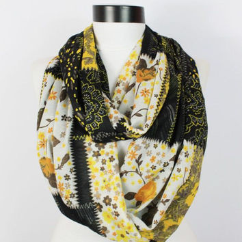 boho yellow flowers scarf,infinity scarf, scarf, scarves, long scarf, loop scarf, gift