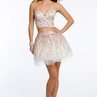 Sequin Two Piece Dress with Lace Up Back