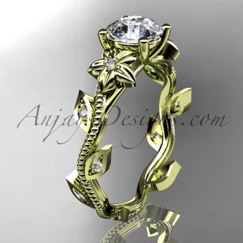 14kt yellow gold diamond leaf and vine wedding ring, engagement ring. ADLR151. nature inspired jewelry