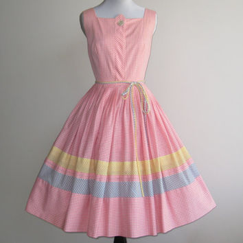 Vintage 50s Dress Pink Cotton Gingham Summertime by hillbillyfilly