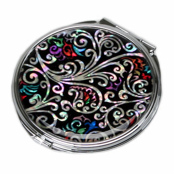 Mother of Pearl Arabesque Flower Magnification Double Compact Cosmetic Makeup Folding Handbag Purse Beauty Pocket Hand Mirror