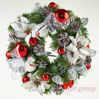Christmas Door Wreath Red Holiday Wreath Christmas Decoration Traditional Door Wreath Charm for home Noel