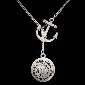 Anchor With God All Things Are Possible Matthew 19:26 Scripture Lariat Necklace