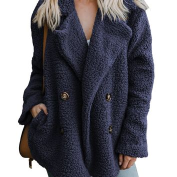 Women Navy Fleece Open Front Coat With Pockets
