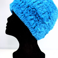 Faux Fur Plush Hat - Peacock