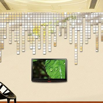 100Pcs 2x2cm Unqiue Acrylic 3D Mural Wall Stickers Mosaic Mirror Effect Room DIY Cool Square Decors