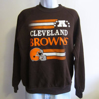 Vintage Amazing 80s CLEVELAND BROWNS GRAPHIC Women Small Soft Youth Extra Large Jumper 50/50 Crewneck Sweatshirt