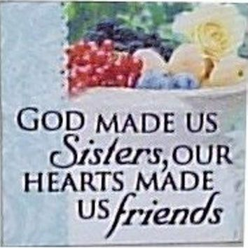 Canvas Magnets- God made us sisters