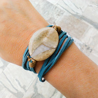 Leather wrap lace agate bracelet, chunky blue real suede and semiprecious stones, bohemian crystal stone jewelry, natural harmony boho beach