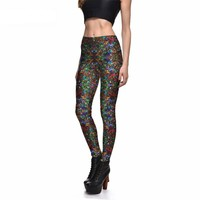 Christmas Tree Lights Printed Leggings
