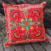 By The Moon - Neon Petals Cushion Cover - Red