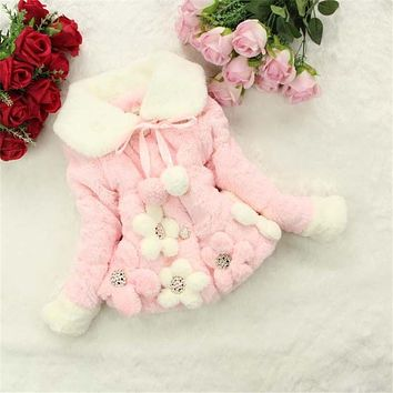 Xmas Winter Infant Faux Fur Rabbit hair Coats Baby Girls flower Warm cotton Jackets Kids Plush velvet Thicken Clothing Outwear