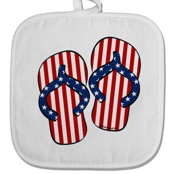 Stars and Stripes Flip Flops White Fabric Pot Holder Hot Pad