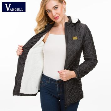 Vangull Winter Jacket Women Thick Warm Hooded Parka New Slim Down cotton clothing Long sleeve Coat Female Outerwear