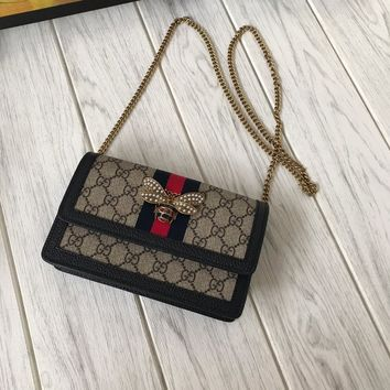 GUCCI WOMEN'S LEATHER CHAIN SHOULDER BAG