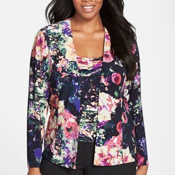 Plus Size Women's Alex Evenings Print Twinset,