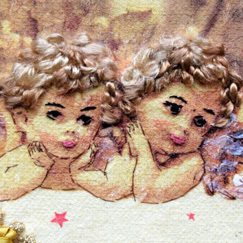 Newborn Christening Framed Gift Personalised Angels Art Child Baby Room Wall Textile Mixed Media Wall Hanging Gold Yellow Embroidery