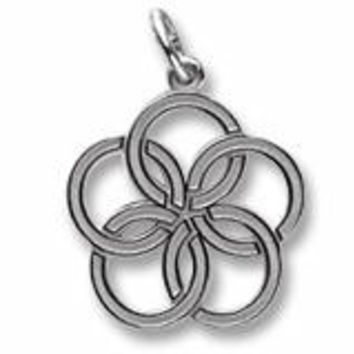 Five Golden Rings Charm In 14K White Gold