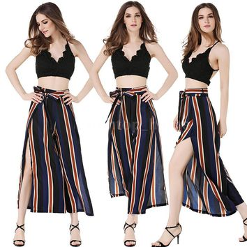 Women Stripe Trousers Wide Leg Soft Loose Oversize Cropped Flared Pants NEW X6V1