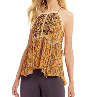 Coco + Jaimeson Printed Lace-Up Tank Top | Dillards