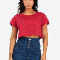 Crop Red Top With Cuffed Sleeves