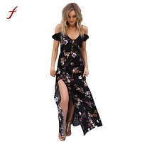 Feitong Women's Spring Spring Dresses Fashion Elegent Black Dress Vestidos Boho Style Hem Split Sleeveless Dress 2018Beach Dress