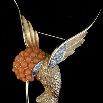 Iconic Marcel Boucher Hummingbird Brooch - HTF