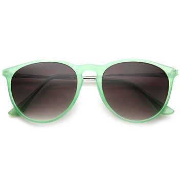 Super Colorful Retro P3 Round Horned Rim Sunglasses 8906