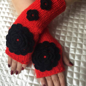 Knitted Fingerless Gloves,Red,Rose Embroidered,Accessories,Gloves&Mittens,Gift Ideas,Turkish handicrafst,For her,Clothing and Accessories