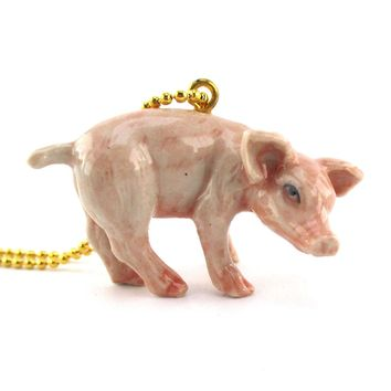3D Porcelain Pink Piglet Pig Farm Animal Shaped Ceramic Pendant Necklace
