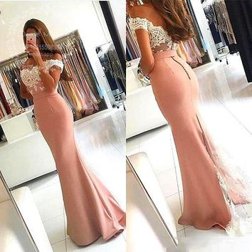2017 Cheap Blush Pink Mermaid Bridesmaid Dresses Lace Applique Vestido de fiesta Long Wedding Party Gowns Special Occasion Dress