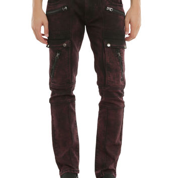 BlacX Red Wash Moto Skinny Jeans