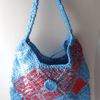 Purse Blue and Red - Large Purse - Crochet - Shoulder Bag - Ready to Ship