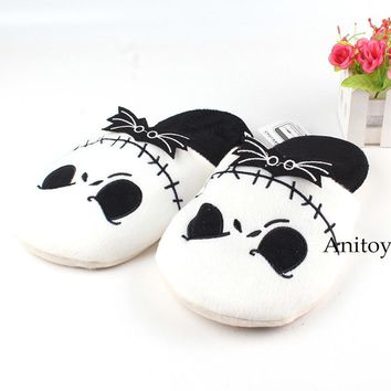 Anime The Nightmare Before Christmas Jack Skellington Adult Plush Slippers Winter Shoes Soft Stuffed Toys 26.5cm