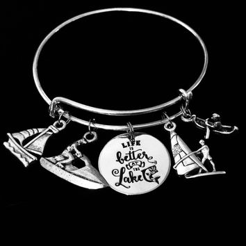 Life is Better at the Lake Expandable Charm Bracelet Boating Kayak Wind Sailing Jet Ski Canoe Silver Adjustable Bangle One Size Fits All Gift Sumer Fun
