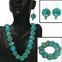 "Green Simulated Turquoise Howlite Necklace 18"" w/ clasp Bracelet Earrings Set"