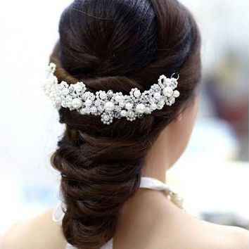 White pearl vintage crystal bride headdress by hand bridal Wedding dress accessories  [7981373703]