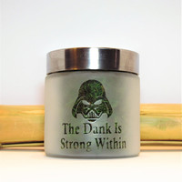 Star Wars Inspired Darth Vader Etched Glass Stash Jar or Edibles Canister - The Dank is Strong Within - Herb Storage