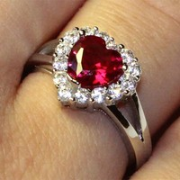 Ruby Halo Heart Promise Ring – Red Cubic Zirconia