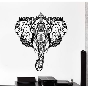Vinyl Wall Decal Indian Elephant Head Ornament Animal Stickers Unique Gift (ig4237)