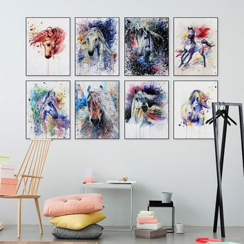Canvas Oil Painting Abstract Wall Art Canvas Prints Animal Horse Painting Decorative Wall Pictures Living Room Home Decoration