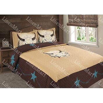 Rustic Brown Cow Skull LongHorn & Feathers Western Star Quilt Bedspread - 3 Piece Set