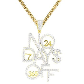 Men's No Days Off Sterling Silver 365 Days Hustle Hip Hop Pendant