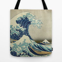 The Great Wave off Kanagawa Tote Bag by TilenHrovatic