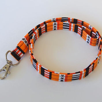 Halloween Lanyard / Keychain / Orange & Black / Key Lanyard / ID Badge Holder / Badge Lanyard / Fabric Lanyard / Stars and Stripes