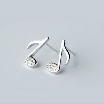 Lovely musical note 925 sterling silver earrings, a perfect gift