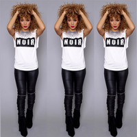 "White ""NOIR"" Tee Sleeveless Top"