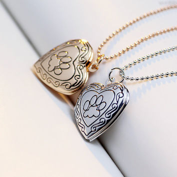 Dog's Paw Charm Photo Locket Necklace, Heart Shaped Jewelry