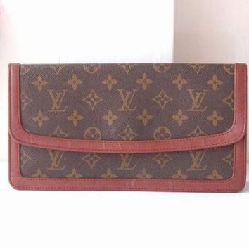 ONETOW Louis Vuitton Bag Monogram Clutch Brown Authentic Vintage handbag purse 70s