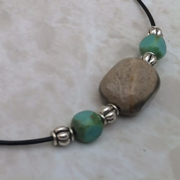 Black Leather Necklace, Natural Stone Necklace, Taupe Stone Necklace, Turquoise Necklace